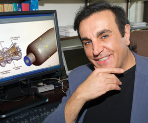 Peyman Givi's research focuses on turbulent combustion as part of an effort to increase fossil-fuel efficiency and reduce pollution associated with exhaust emissions. Givi, William Kepler Whiteford Professor in the Department of Mechanical Engineering and Materials Science and director of the Laboratory for Computational Transport Phenomena at Pitt, uses advanced simulation and modeling to provide an accurate way for engineers to experiment with engines even before they are built. Rolls-Royce and NASA engineers already use Givi's model to predict temperature differential, fuel usage, and emissions for different engine and fuel combinations.