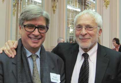 The Pitt News celebrated its centennial anniversary, which featured an Oct. 31 keynote speech by Scott McLeod (A&S '76), former Time magazine Cairo bureau chief and a former Pitt News editor-in-chief. From left, McLeod and former Pitt English professor and creative nonfiction pioneer Lee Gutkind.