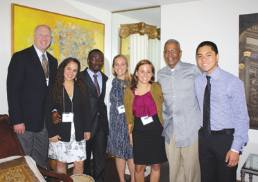 Pitt Vice Chancellor for Public Affairs Robert Hill, second from the right in the photograph above, hosted a Dinner Dialogs evening with several Hesselbein Global Academy participants at his Mount Washington home. The others seen in the photograph are, from left, Larry Olson, a program mentor and vice president/director of marketing for John Wiley & Sons, Inc.; and students Cecilia Vargas, University of Monterrey, Mexico; Kingsley Essegbey, Central University, Accra, Ghana; Amarette Edmonson, St. Edward's University, Austin, Texas; Laura Glaub, Saint Mary's College, Notre Dame, Ind.; and Gentry Tran, Beloit College, Beloit, Wis.