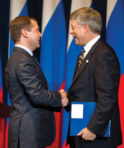 Russian President Dmitry Anatolyevich Medvedev (left) and Chancellor Mark A. Nordenberg