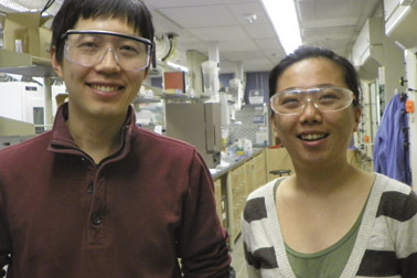 From left, Haitao Liu, an assistant professor in Pitt's Department of Chemistry, and Hyo Jeong Kim, a Bayer Graduate Fellow.