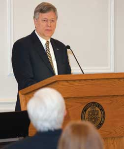 "Pitt Chancellor Mark A. Nordenberg delivered opening remarks for the panel discussion titled ""Natural Language Process in the World of Business, Law, and Medicine,"" in the University Club."