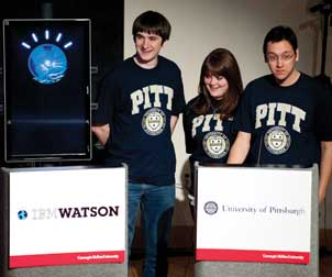 Watson and Pitt's mock Jeopardy! team (from left), Brian Sisco, a junior majoring in computer science with a minor in math; Danielle Arbogast, a junior majoring in political science and communication with a minor in legal studies; and Richard Kester, a senior majoring in history and neuroscience with a minor in chemistry.
