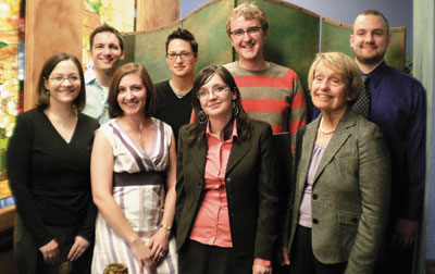 "Seven Pitt graduate students received the 2010 Elizabeth Baranger Excellence in Teaching Award, given annually to acknowledge and promote outstanding teaching by Pitt graduate students. It was named in honor of former Pitt vice provost for graduate studies and emeritus professor of physics Elizabeth Baranger. Chosen from more than 50 nominees were (front row, from left) Jessica Yokley, a fourth-year doctoral student in psychology; Aimee Midei, a fifth-year doctoral student in clinical and health psychology; Madalina Veres, first-year doctoral student in history; Baranger; and (back row, from left) Thomas Pacio, who graduated May 2 with an MFA degree in performance pedagogy, theatre arts; Gabrielle ""Brie"" Owen, a fourth-year doctoral student in English; James Pearson, a seventh-year doctoral candidate in philosophy; and Michael Beran, a first-year doctoral student in physics who received an honorable mention.  The award, sponsored by Pitt's School of Arts and Sciences Graduate Student Organization, carries a cash prize of $250 and helps graduate students prepare professionally for teaching careers. The group was honored April 23 during a reception at Oakland's Lucca Ristorante. Not pictured is Suset Laboy Perez, a third-year doctoral student in history."