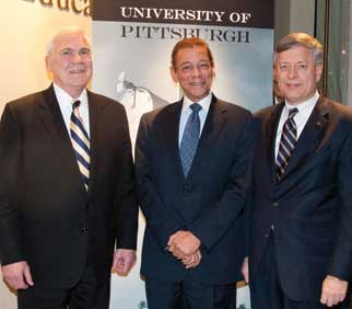 Robert Cindrich (LAW '68), History Center chair; Rod Doss, New Pittsburgh Courier publisher; Nordenberg.