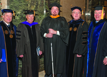 From left: Chancellor Nordenberg; Pitt's two 2010 Distinguished Alumni Fellows—Samuel A. McCullough (BUS '06), president and CEO of Griffin Holdings Group LLC, and Jeremy W. Feldbusch (A&S '01), national spokesperson for the Wounded Warrior Project—Provost Maher, and F. James McCarl, president of the Pitt Alumni Association.