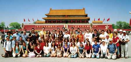 The Heinz Chapel Choir traveled through China April 28-May 12, giving performances in Beijing, Xi'an, Hangzhou, and Shanghai. Fifty-one choir members and 13 adults made the journey, including choir director John Goldsmith (back row, second from left). The group is pictured here on Tiannamen Square in front of the Forbidden City.