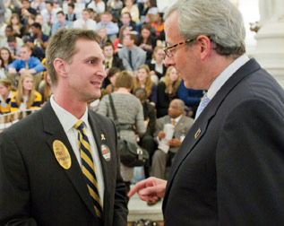 2. Jeff Gleim (left), Pitt Alumni Association executive director, talks with State Rep. Dan Frankel (D-23), minority caucus chair.