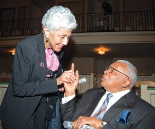 Pitt alumni Marva Harris, interim director of the August Wilson Center for African American Culture, and George E. Barbour, a Courier reporter.