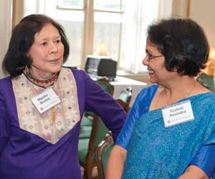 E. Maxine Bruhns (left), director of Pitt's Nationality Rooms Program, talks with Rashmi Ravindra, cochair of the Indian Nationality Room Committee.