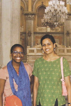 Zoe Samudzi (left), a Pitt sophomore majoring in political science, stands in Chowmahalla Palace in Hyderabad, India, which was the seat of a Persian dynasty that once ruled in Andhra Pradesh. Samudzi was in India doing  research on how Indian people in the Andhra Pradesh region age. She is standing with Niranjani Thuppal, a second-year Pitt medical student.