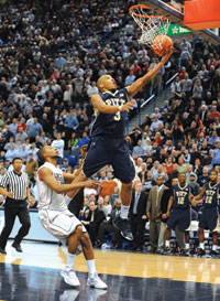The Pitt Panthers beat No.1-ranked Connecticut 76-68 on Feb. 16 at the Huskies' XL Center in Hartford, Conn. The game marked the Panthers' first win ever over a No. 1-ranked team. Pictured is guard Jermaine Dixon driving for a layup during the game.