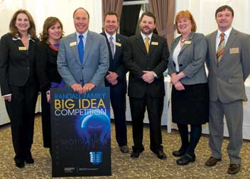 From left: Ann Dugan, founder and director of Pitt's Institute for Entrepreneurial Excellence (IEE); Robin Randall (Bob Randall's daughter); Bob Randall and his sons, Brett and Chris Randall; Pitt Provost and Senior Vice Chancellor Patricia E. Beeson; and Michael Lehman, IEE director of student entrepreneurship.