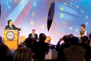 Alberta Sbragia (far right), as head of Pitt's European Union Center of Excellence, and José Manuel Barroso, president of the European Commission (at podium), participated in a question-and-answer session in Alumni Hall during the September 2009 G20 Summit in Pittsburgh. For more than a decade, the European Center of Excellence has supported scholarship in public policy and European political, economic and legal integration, including trans-Atlantic research, exchange programs, and policy conferences. Sbragia is Pitt's new vice provost for graduate studies effective Oct. 1.