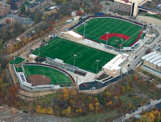 The fields of Pitt's new Petersen Sports Complex are finished, ready for players and their cleats. The $27.8 million project houses three NCAA regulation competition venues for (from bottom left) women's softball, men's and women's soccer, and men's baseball. The complex is built on 12 acres at the peak of Pitt's upper campus; all three fields have artificial-turf playing surfaces, broadcast-quality sports lighting, scoreboards, and press boxes. Despite icy winds and the snowy winter blanket outside now, the complex will host its first official baseball game in less than a month, when the Panthers take the field against the IPFW (Indiana University—Purdue University Fort Wayne) Mastadons at  3 p.m. Feb. 25. Weather permitting, of course.