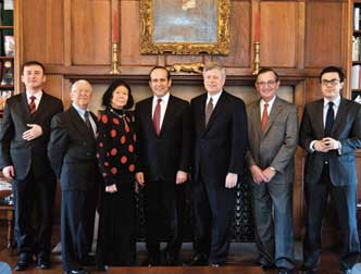 Namik Tan, the Republic of Turkey's ambassador to the United States, visited with Pitt Chancellor Mark A. Nordenberg on Feb. 3 in the chancellor's office. Also present were several members of the committee for Pitt's Turkish Room, soon to join the family of the 27 Nationality Rooms in the Cathedral of Learning. From left are Umit Alparslan Kilic, vice consul, Turkish Consulate in New York City; Sakir Oguz, treasurer, Pitt Turkish Room Committee; E. Maxine Bruhns, director, Nationality Rooms Program; Turkish Ambassador Tan; Chancellor Nordenberg; Malik Tunador, chair, Turkish Nationality Room Committee; and Oncu Keceli, second secretary of the Turkish Embassy.