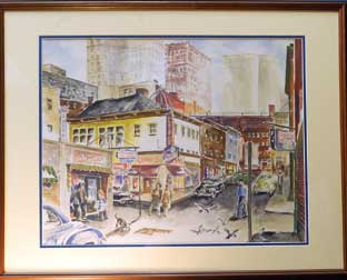 Williams' courthouse office is filled with personal keepsakes, including artwork that the judge said keeps him mindful of his family roots in Manchester. Above, a painting of Market Square during the 1950s.