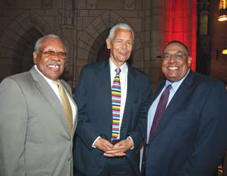 "From left, John Wilds, Pitt assistant vice chancellor for community relations; Julian Bond, NAACP chair emeritus and the keynote speaker for Pitt's 2010 national conference ""Race in America: Restructuring Inequality""; and Dean Emeritus David Epperson."